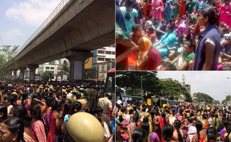 Garment workers protest for pensions in Bangalore