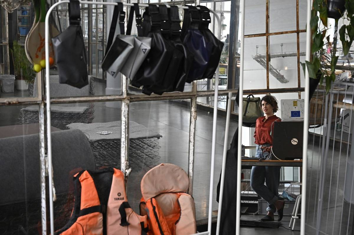 Refugee boats given new life as bags in Berlin