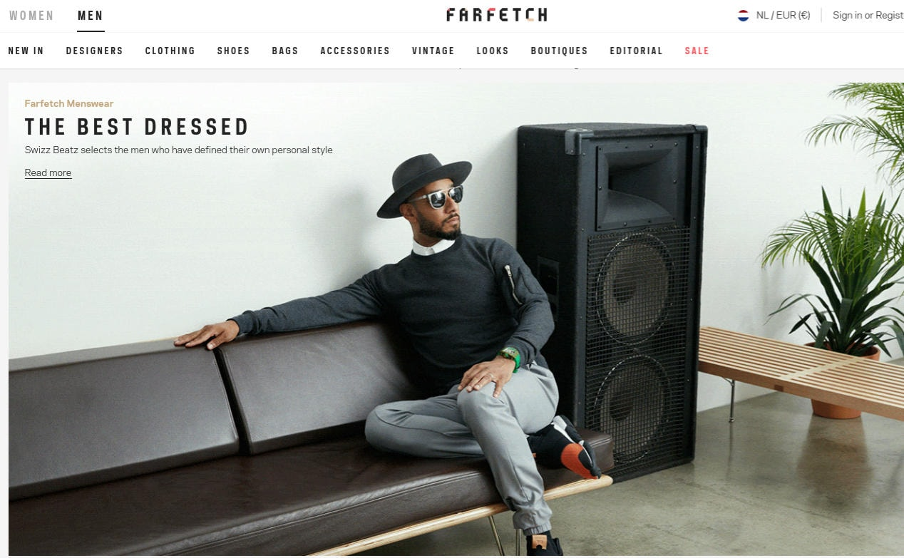 Farfetch to focus on boosting menswear business