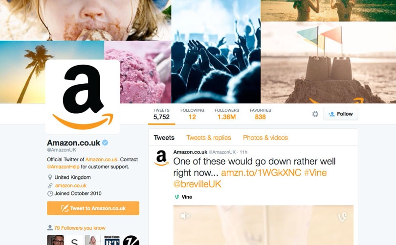 Amazon fastest growing retail brand on social media