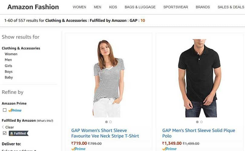Gap now available on Amazon India