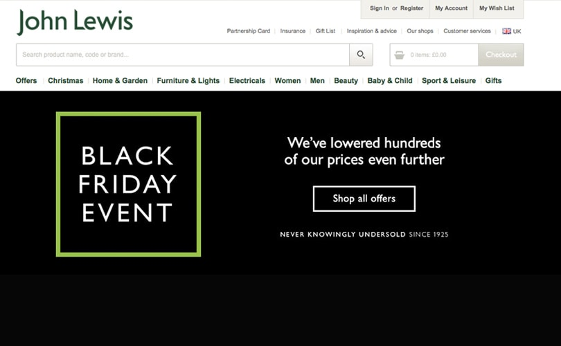 John Lewis enjoys 'promising' Black Friday