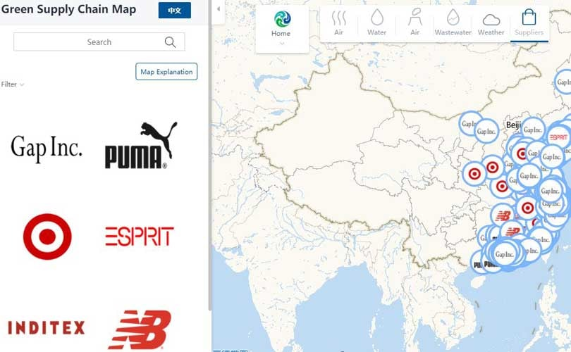 World's first green supply chain map links brands to factories in China