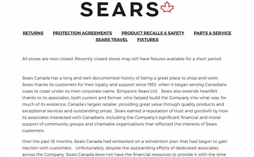 Last stores of Sears Canada close for good