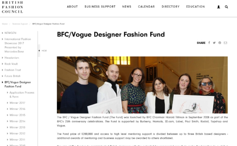 BFC/Vogue Designer Fashion Fund announces shortlist for 2018