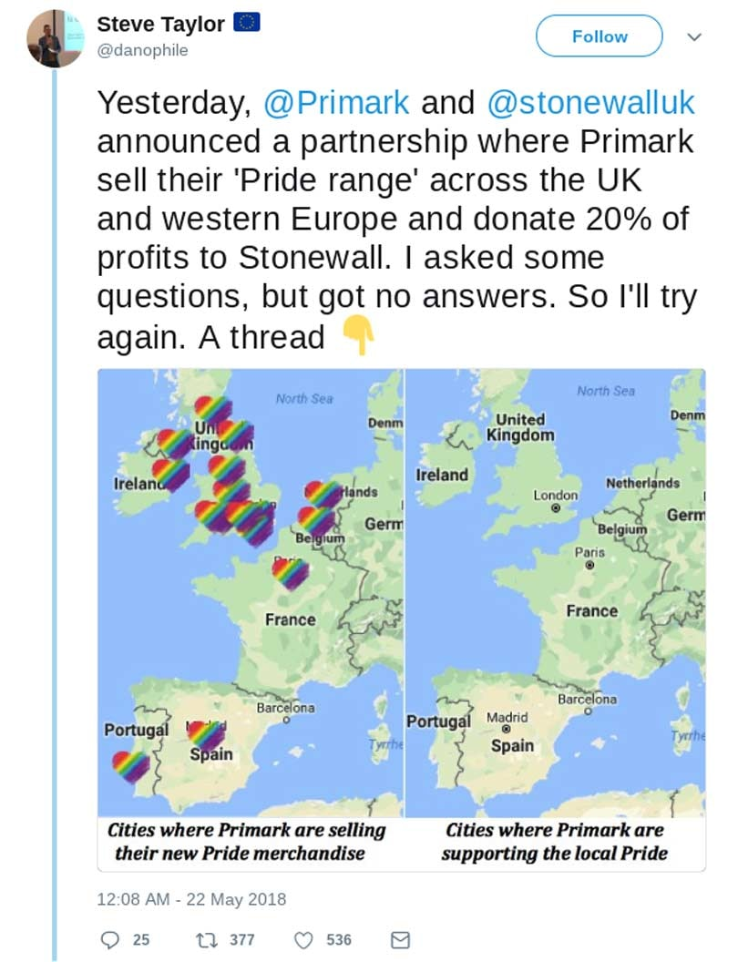 """Primark accused of """"pinkwashing"""" in its 2019 Pride Collection"""