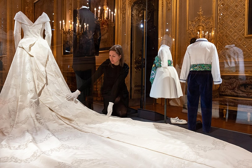 Princess Eugenie's wedding dress goes on display